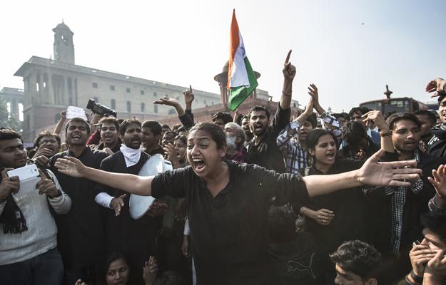 protestors in Delhi